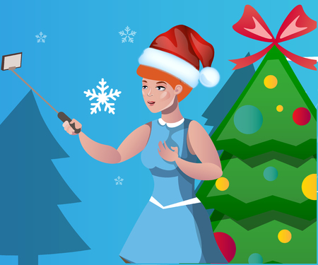 Woman is photographed against background of Christmas tree Illustration