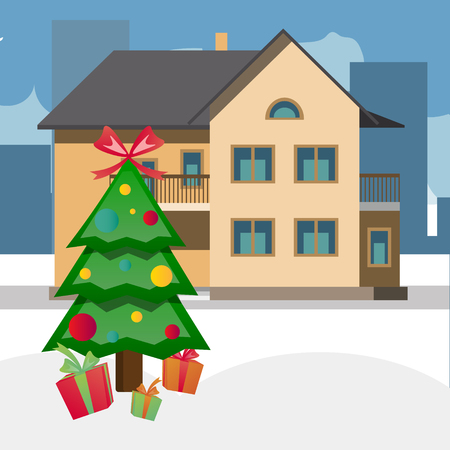 House and decorated cute fir tree vector illustration. Illustration