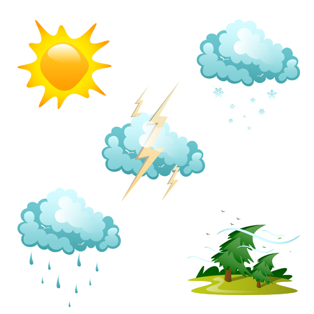 Set of different weather icons vector illustration.