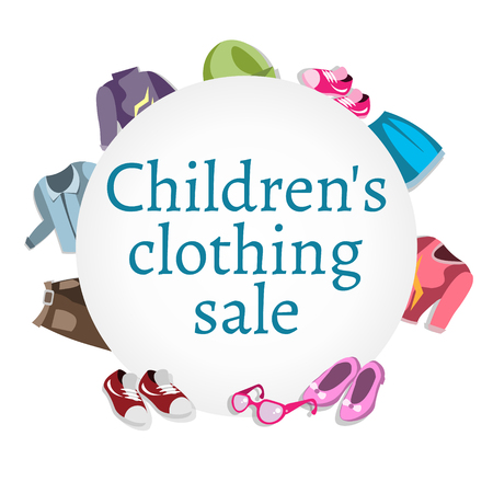 Super sale kids clothing and accessories, vector illustration.