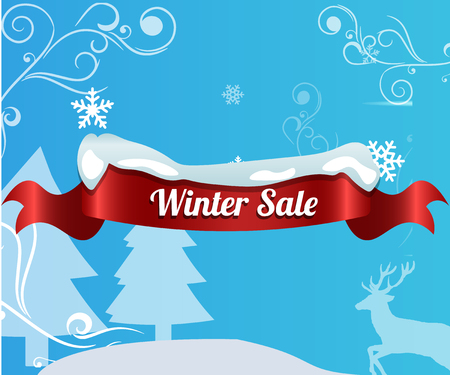 Winter sale background with red realistic ribbon banner