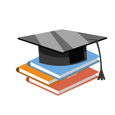 Books with the graduate cap