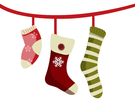 Christmas socks for gifts Vector illustration.