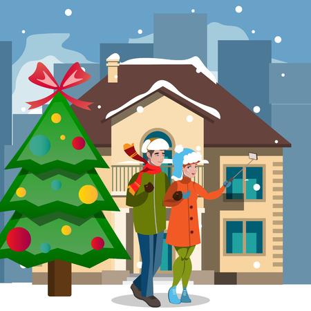 クリスマスの家と人々