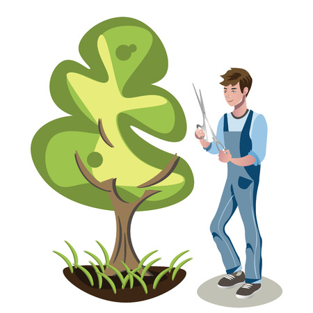 Gardener man cutting a bush. Vettoriali