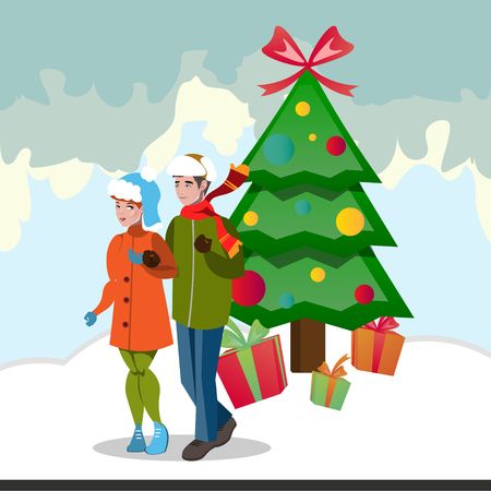 Family decorating christmas tree. Illustration