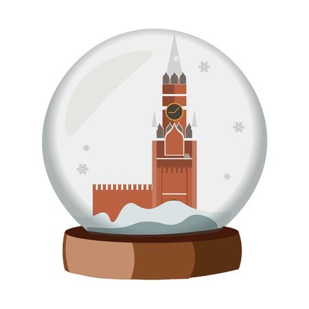 A realistic Snow Globe with a Kremlin vector illustration.
