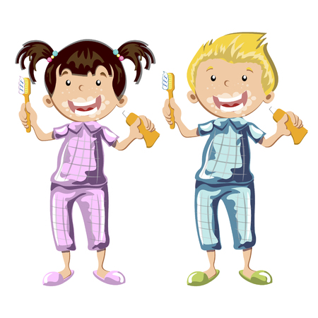 Kids brushing teeth on a white background. Vector illustration