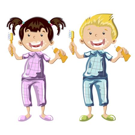 Kids brushing teeth on a white background. Vector illustration