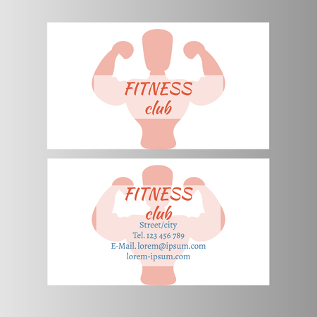 Fitness club business card. Vector illustration flat design