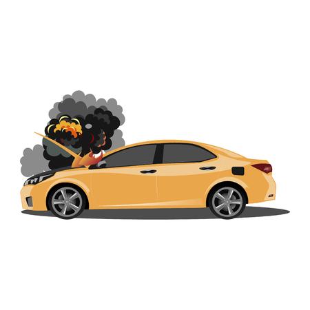 El auto roto está cubierto de fuego y humo.