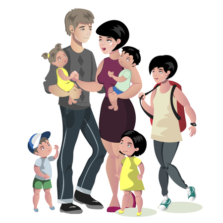 Happy Caucasian Family With Many Children 向量圖像