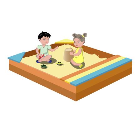 De kinderen spelen in de zandbak, Vectorillustratie.