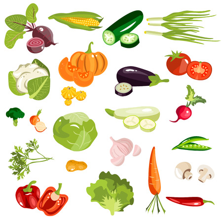 Set of fruits and vegetables. Vector illustration Illustration