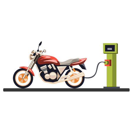 Motorcycle at the gas station. Vector illustration