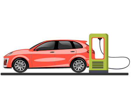 Banner with electric car and charging station. Vector illustration