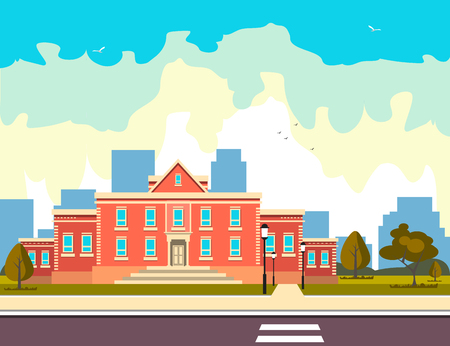 School building outside Flat style vector illustration