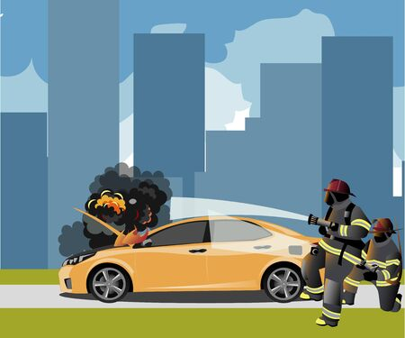 Car fire Icon with fireman Vector illustration.