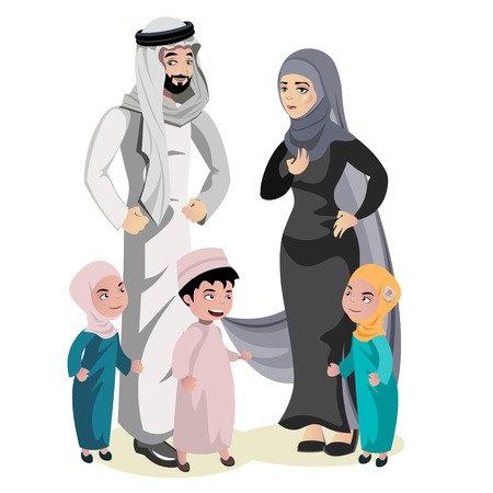 Muslim Family Cartoon Character Vector illustration.