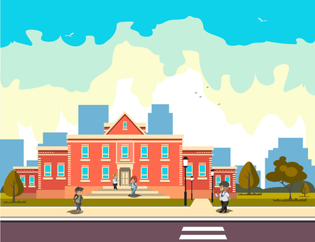 school building and children Vector illustration. Reklamní fotografie - 91623325
