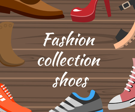 Fashion collection shoes with different shoes design, collection vector illustration.