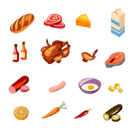 Milk, vegetables, meat, chicken, cheese vector set Banco de Imagens - 91881542