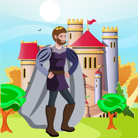 King in front of his castle Illustration