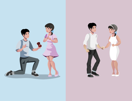 The guy gives the ring. The couple are married. Vector illustration