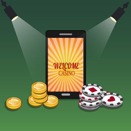 Online casino banner with a mobile phone, chips and money. Vector illustration Illustration