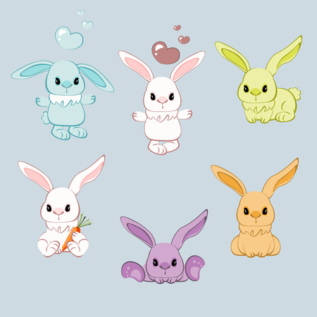 Cartoon rabbit with different pose. Vector illustration Stock Illustratie