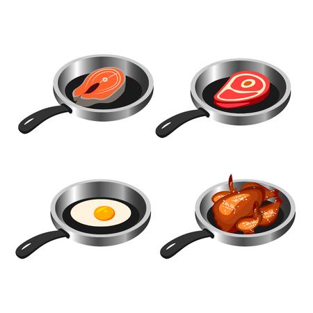 Set of fried food vector illustration Illustration