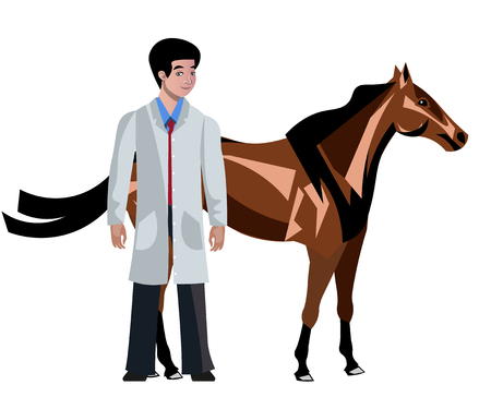 Horse with vet vector illustration Çizim