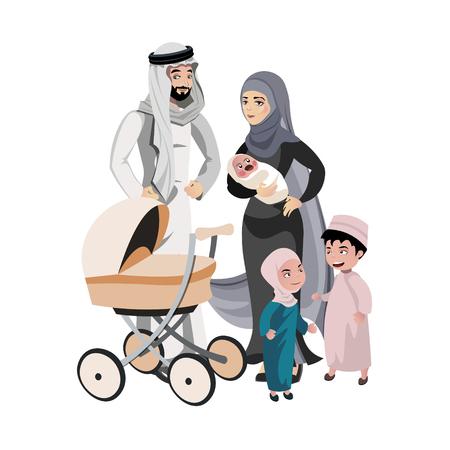 A large family of Arab origin. Vector illustration Illustration