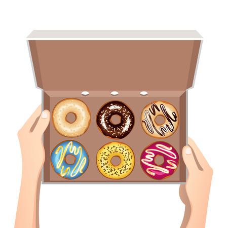 Bunte Donuts mit Glasur in offener weißer Box . Vektor-Illustration