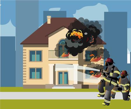 Les pompiers éteignent une illustration vectorielle de maison en feu