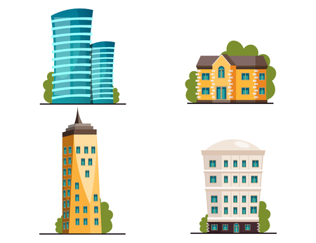 Buildings icon set different heights residential and public buildings business centers vector illustration