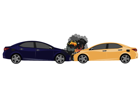 Car accident style flat design. Vector illustration