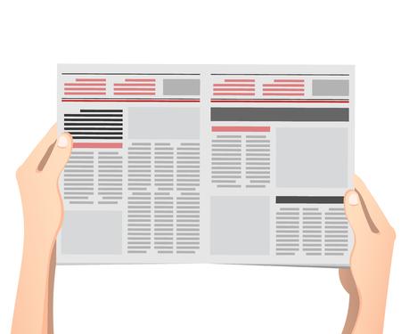 Las manos del hombre de negocios que sostienen la ilustración del vector del periódico en diseño plano.