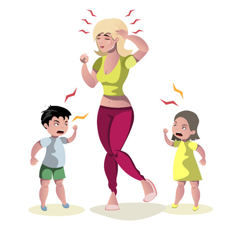 Screaming kids and crying mother. Vector illustration