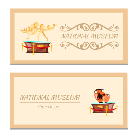 Museum ticket icon in flat style vector illustration