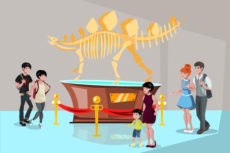 Group people watching tyrannosaurus dinosaur skeleton vector illustration