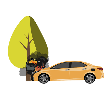 ar crash with a big tree. Vector illustration