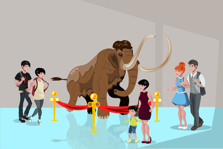 Group people watching big mammoth. Flat style vector illustration. Illustration