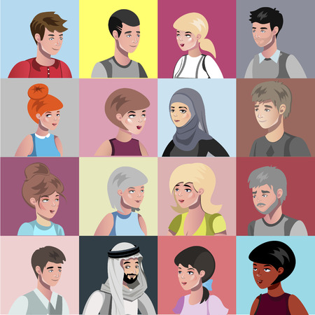 Portraits of people of different nationalities vector illustration
