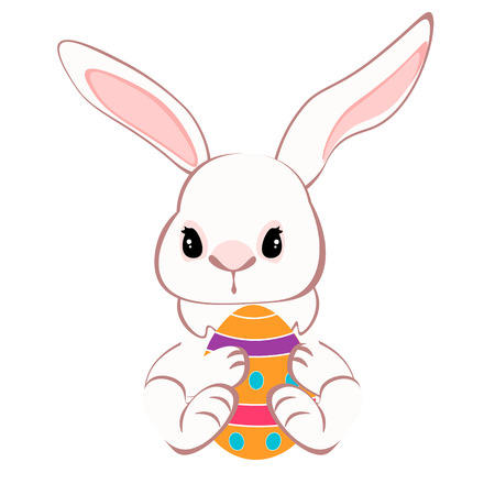 Cute bunny sitting with colorful eggs illustration. Illustration