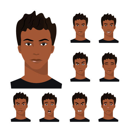 African-American man with different emotions