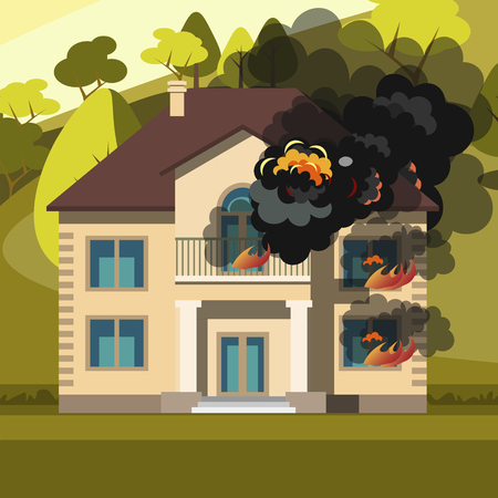 Blazing house burning with fire  イラスト・ベクター素材
