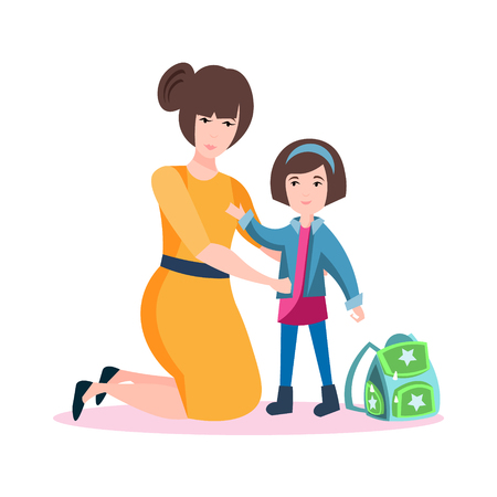Happy mother with daughter. Illustration
