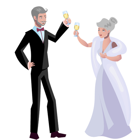 Old woman and man evening dress. Vector illustration.