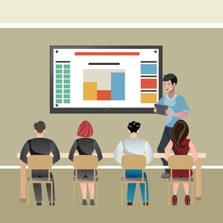 Businessman presentation on a white board illustration. 일러스트